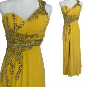 Terani couture one shoulder evening gown